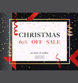 christmas sale banner in a frame gold glitter vector image