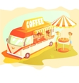 Coffee Shop Cafe In Mini Bus On Sunny Day With vector image vector image