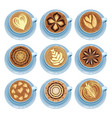cups of coffee set drawings on coffee crema top vector image