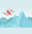drone flying over mountain range helicopter vector image vector image