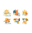 flat set colorful summer labels beach vector image