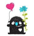 Funny Monster with Flowers and Heart Balloon vector image vector image