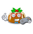 gamer christmas pudding on dinning table cartoon vector image