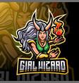 girls wizard esport mascot logo design vector image