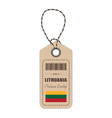 hang tag made in lithuania with flag icon isolated vector image vector image