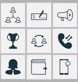 hr icons set with manager chat speaker and other vector image vector image