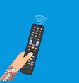 human hand with black modern remote tv control vector image vector image