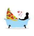 I love food Piece of pizza and man in bath Man and vector image vector image