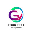 initial letter gv logo template colorfull circle vector image vector image