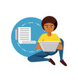 man black sitting with laptop computer and paper vector image vector image