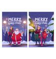 merry christmas cartoon card poster santa claus vector image vector image