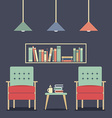 Modern Design Interior Chairs and Bookshelf vector image vector image
