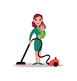 mother with baby in her arms cleaning the floor vector image vector image