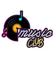 neon music club vinyl disc record background vector image vector image