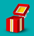 open red gift box icon with gold and silver bow vector image vector image