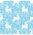 pattern with deer and snowflakes vector image vector image