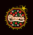 pizzeria promotional logotype with pizza and crown vector image vector image