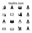 reading icons set graphic design vector image vector image