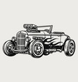 retro hot rod with flame decal vector image
