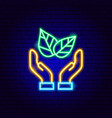 save plant neon sign vector image vector image