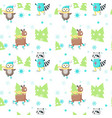 seamless pattern with cute ice skating vector image vector image