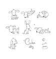 set funny cartoon dogs vector image vector image