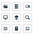 set of simple computer icons vector image vector image