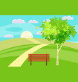 spring landscape hills dear leading into the vector image vector image