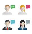 Support and call center avatar flat icons vector image