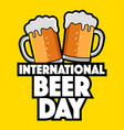 two beer glasses for international beer day icon vector image
