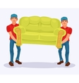 Two men carries a sofa vector image