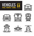 vehicle and transport outline icon pixel perfect vector image