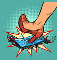 woman heel smashes phone screen vector image vector image