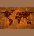 world map of maple leaves vector image