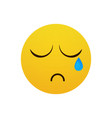 yellow cartoon face cry tears people emotion icon vector image vector image