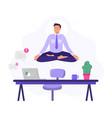 yoga office man worker meditate vector image