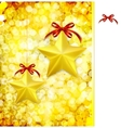 Christmas gold background with bow stars and vector image