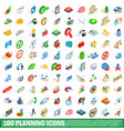 100 planning icons set isometric 3d style vector image vector image
