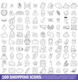 100 shopping icons set outline style vector image vector image