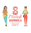 8 march greeting poster woman hold flowers vector image vector image