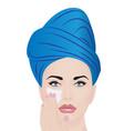 a girl using facial cream for skincare vector image