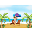 A lady at the beach with coconut trees vector image vector image