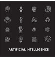 artificial intelligence editable line icons vector image vector image