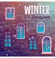 Background of winter with building wall vector image