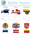 Baltic States Flags vector image