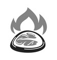 bbq grill meat steak filet icon of vector image vector image