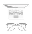 beautiful glasses on the laptop vector image vector image