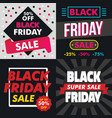 black friday banner set flat style vector image