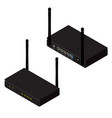 black realistic wireless router with antenna vector image vector image