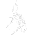 Black White Philippines Outline Map vector image